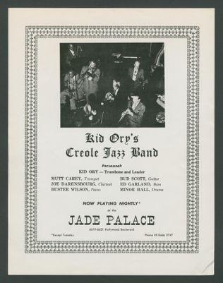 Flyer: Kid Ory at the Jade Palace