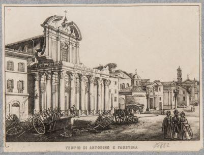 Tempio di Antonino e Faustino, prospetto sul Foro