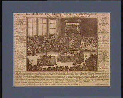 L' Assemblée des Etats-Généraux convoquée à Versailles le 27 avril <em>1789</em> et remise le 4 mai chanson nouvelle sur ce sujet, air : vous qui de l'amoureuse ivresse... : [estampe]