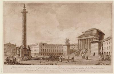 Grand théâtre des arts ou temple d'Apollon avec une colonne triomphâle au milieu de la place principale, erigée au commerce, aux sciences, aux arts & aux vertus républicaines : [estampe]