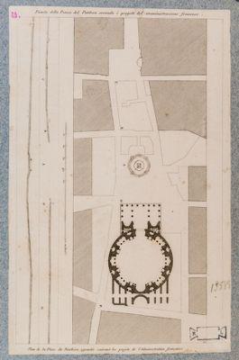 Pianta della piazza del Pantheon secondo i progetti dell'amministrazione francese