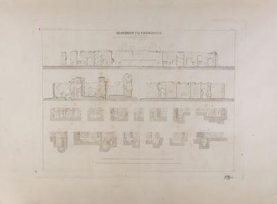 Terme di Caracalla, edificio principale, stato, prospetti, sezioni delle escavazioni nel 1824 e 1825
