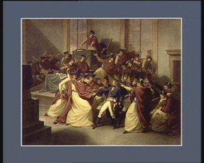 The  Sitting of the Council of five hundred at St Cloud to whom Bonaparte having presented himself, he dissolved, Nov.r 10th 1799 [estampe]