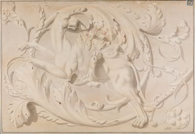 Foro Traiano, decorazione di un fregio con pantera tra girali di acanto
