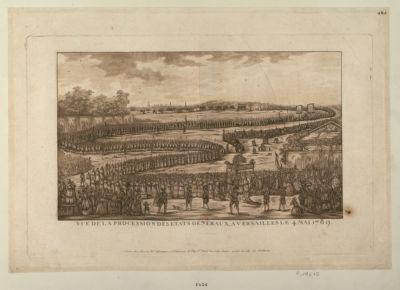 Vue de la procession des Etats <em>généraux</em>, à Versailles, le 4 mai <em>1789</em> [estampe]