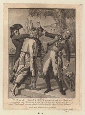 Mort du général Kleber assassiné au Caire, le 25 prairial an 8 par Souleyman-el-Alepi [estampe]