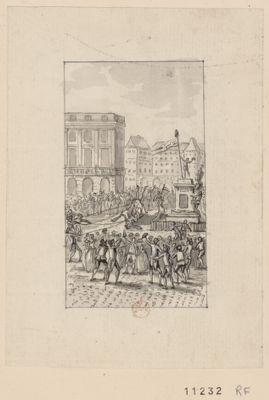 [La  Statue de Louis quatorze renversée sur la place des Victoires] [dessin]