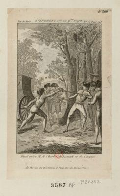 Evénement du 12 9.bre 1790 duel entre M.M. Charles de Lameth et de Castries : [estampe]