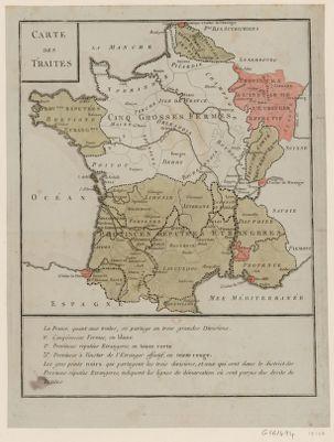 Carte des Traites la France, quant aux traites, se partage en trois grandes divisions... : [estampe]