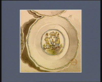 [Assiette décorée d'allégories des Trois Ordres montrant l'oppression du Tiers Etat] [dessin]