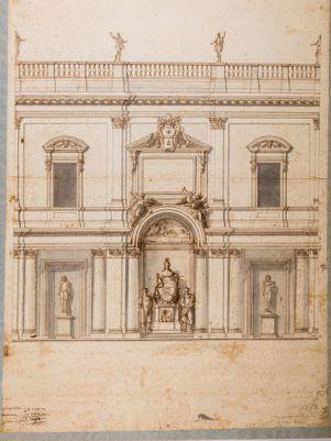 Prospetto del portico da erigersi nel cortile del Palazzo dei Conservatori in Roma
