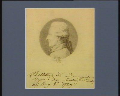 Billette de Quimperlé député de Carhaix [illisible] né le 9 8.bre 1729 : [dessin]