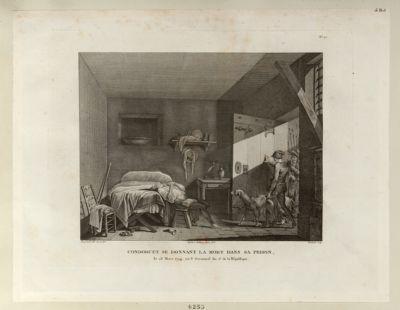 Condorcet se donnant la mort dans sa prison le 28 mars 1794, ou 8 germinal an 2.e de la République : [estampe]