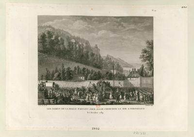Les  Dames de la Halle partant pour aller chercher le roi à Versailles le 5 octobre 1789 : [estampe]