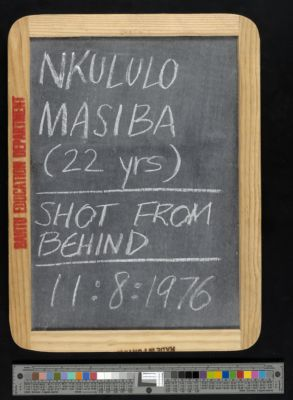Nkululo Masiba (22 years), shot from behind, 11:8:1976