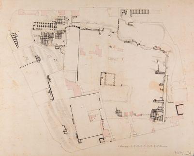 Palatino, pianta generale degli Orti Farnesiani con ruderi delle costruzioni imperiali