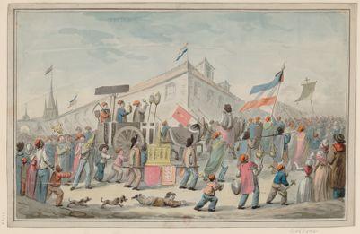 [Procession burlesque de révolutionnaires chargés d'objets de culte, avec un corbillard et deux hommes portant une châsse] [dessin]