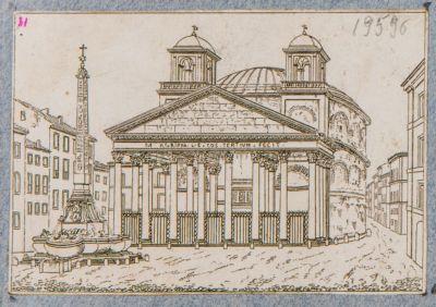 Pantheon, prospetto con vista della Fontana