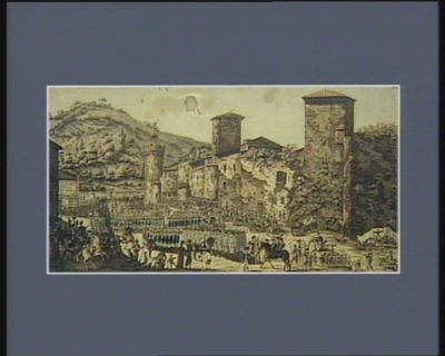 [Vue de la place Sainte-Catherine de Moissac] [le premier détachement de Champagne et des troupes nationales bordelaises commandé par Mr Courpon se rassemblent pour ramener l'ordre dans la ville de <em>Montauban</em>] : [estampe]