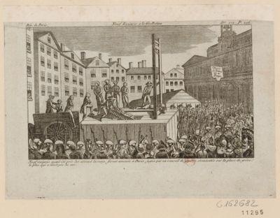 Neuf émigrés à la guillotine neuf émigrés ayant été pris les armes à la main furent amenés à Paris, jugés par un conseil de guerre et exécutés sur la place de Grêve, le plus âgé n'avait pas 30 ans : [estampe]