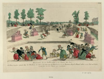Evenement du <em>12</em> juillet <em>1789</em>, a six heures du soir le Prince Lambesc entrant dans les Thuilleries le sabre a la main avec un detachement de son régiment Royal Almand, abbat a ses pieds un vieillard et fait fuir tous les citoyens qui si promenent : [estampe]