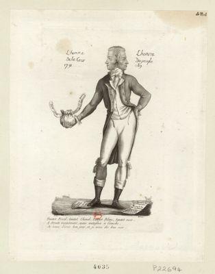 L' Homme de la cour 1791 l'homme du peuple 1789 tantot froid, tantot chaud, tantot blanc, tantot noir, a droit maintenant, mais autrefois à gauche, je vous disais bon jour, et je vous dis bon soir : [estampe]