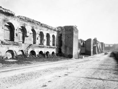 Aurelian Walls, the arcades of two vaulted rampart walks, lying one above the other, on Viale Castrense, the lower one dates from the first and the upper from the second building period