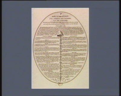 <em>Déclaration</em> des droits de l'homme et du citoyen décrétés par l'Assemblée nationale dans les séances des 20, 21, 23, 24 et <em>26</em> août <em>1789</em>, sanctionnés par le Roi le 5 octobre au soir suivant [estampe]