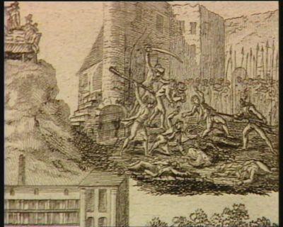[L. Quatre-vingt-quatorze individus dont trois femmes, assassinés dans les prisons de Rouanne et de St Joseph à Lyon sous la domination des terroristes, après le 9 thermidor] [estampe]