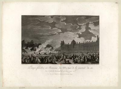 Pompe funèbre en l'honneur des martyrs de la journée du 10, dans le jardin national, le 26 aout 1792 [estampe]