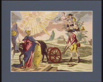 Sous la gloire des augustes maisons de nos princes, Minerve déesse protectrice de la France, contemple le tiers Etat figuré par un laboureur poussant sa charrue dans un sillon [estampe]