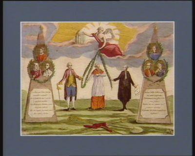 La  Réunion fait la force Trois Ordres différens par la Concorde unis cimentent à jamais le bonheur de la France, de vos vastes cités les malheurs sont bannis et les lys triomphants vont croitre en abondance : [estampe]