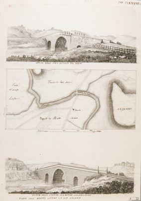 Ponte Salario, veduta dello stato attuale e primitivo del ponte con topografia della campagna circostante