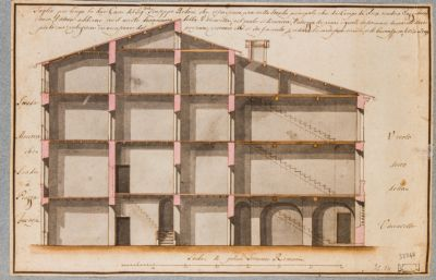 Casa Bedoni fra Piazza Farnese e Campo dei Fiori, spaccato