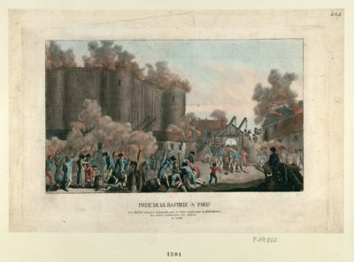 Prise de la Bastille à Paris le 14 juillet 1789, jour mémorable, qui va faire époque dans la réhabilitation des droits inaliénables des citoyens du monde : [estampe]
