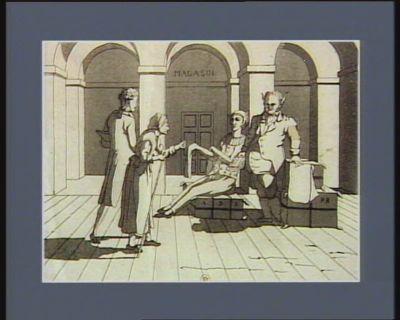[Camus et un acolyte accueillent un couple de rentiers] [estampe]