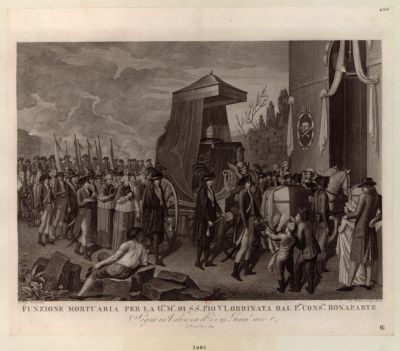 Funzione mortuaria per <em>la</em> G.sa M.a di S.S. Pio VI ordinata dal P.mo cons.le Bonaparte [estampe]