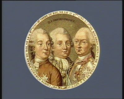 Ch. Ph.pe comte d'Artois frère du Roi, né le 9 8.bre <em>1757</em> Mr frère du Roi, né le 17 9.bre 1755 ; L.s J.ph de Bourbon, prince de Condé né le 9 aout 1736 : ils reviendront : [estampe]