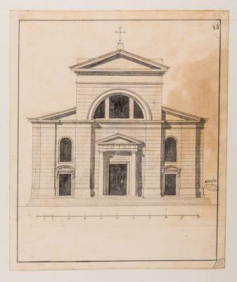 Chiesa di S. Maria del Popolo. Prospetto della facciata, progetto