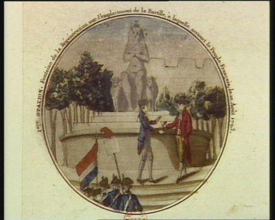 1.ere station fontaine de la régénération sur l'emplacement de la Bastille, à laquelle accourt le peuple français le 10 août 1793 : [estampe]