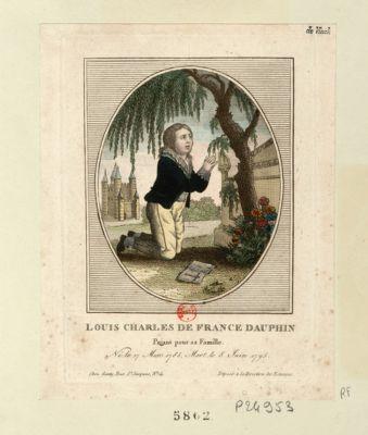 Louis Charles de <em>France</em> Dauphin priant pour sa famille né le 27 mars 1785 mort le 8 juin 1795 : [estampe]