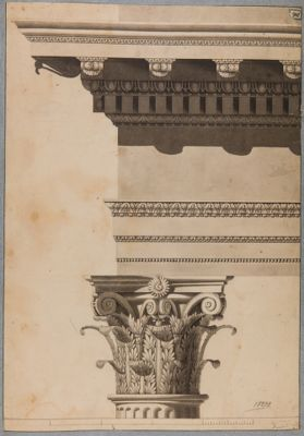 Foro Traiano, particolari architettonici fregio e capitello corinzio