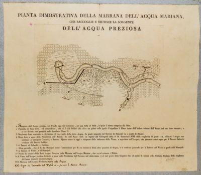 Acqua Mariana, pianta del corso di detta acqua con le confluenze dell'Acqua Preziosa