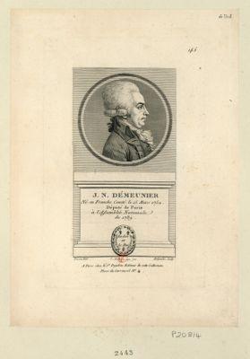 J.N. Démeunier né en Franche Comté le 15 mars 1752 député de Paris à l'Assemblée nationale de 1789 : [estampe]