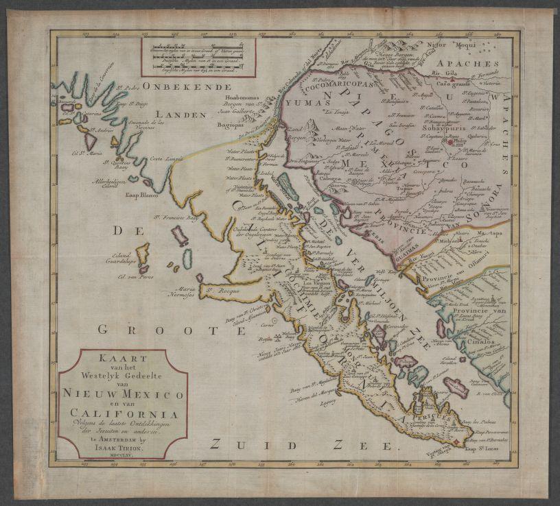 Isaac Tirion: Kaart van het Westelyk Gedeelte van Nieuw Mexico en van California : volgens de taatste ontdekkingen der Jeuiten en anderen [1765].