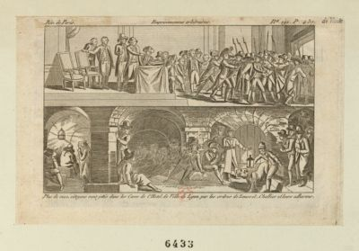 Emprisonnements arbitraires plus de 2000 citoyens sont jetés dans les caves de l'Hotel de Ville de <em>Lyon</em> par les ordres de Loussel, <em>Chalier</em> et leurs adherens : [estampe]
