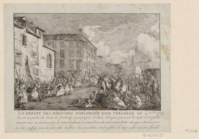 Le  Départ des héroines parisienne pour <em>Versaille</em> le 4 7.bre <em>1789</em> lon vit une partie des hérôs du faubourg accompagnés de leurs héroynes prennent la route de <em>Versailles</em> emmenent avec eux plusieurs pieces de canons les femmes ouvroient la <em>marche</em> et arretoient toutes celles qui se trouvoient sur leur passage pour les faire aller de force la caricature étoit risible de voir cette <em>marche</em> fémêlle : [estampe]