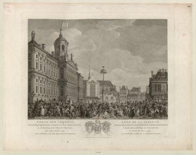 Feest der Vrijheid Gevierd, bij gelegenheid der inwijing van den Vrijheidsboom, te Amsterdam, op het Plein der Revolutie den 4den Maart, 1795... : [estampe]