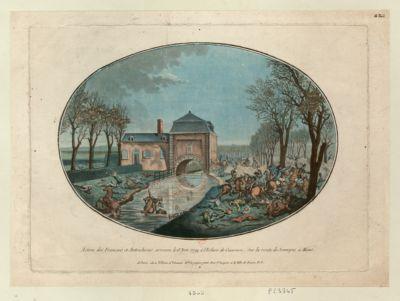 Action des Français et Autrichiens, arrivée le 6 nov. <em>1792</em> à l'ecluse de Cuesmes, sur la route de Jemmapes à Mons [estampe]