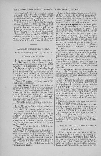 Tome 41 : Du 30 mars au 16 avril 1792 - page 176